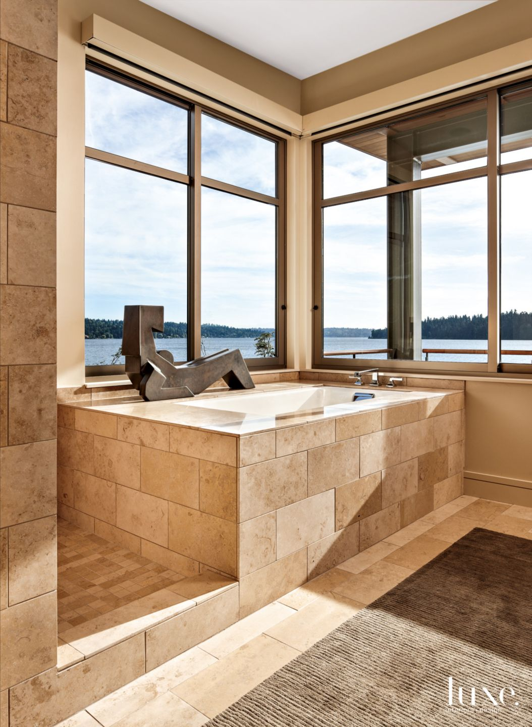 Contemporary Neutral Master Bathroom with Marble Tile