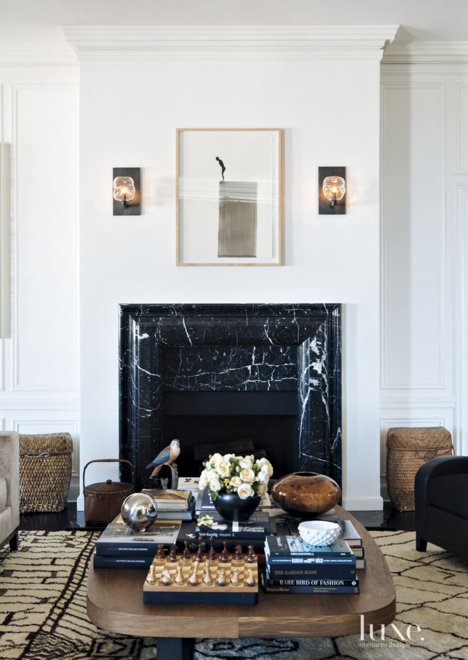 Excellent Transitional White Living Room With Black Marble Fireplace Interior Design Ideas Inamawefileorg