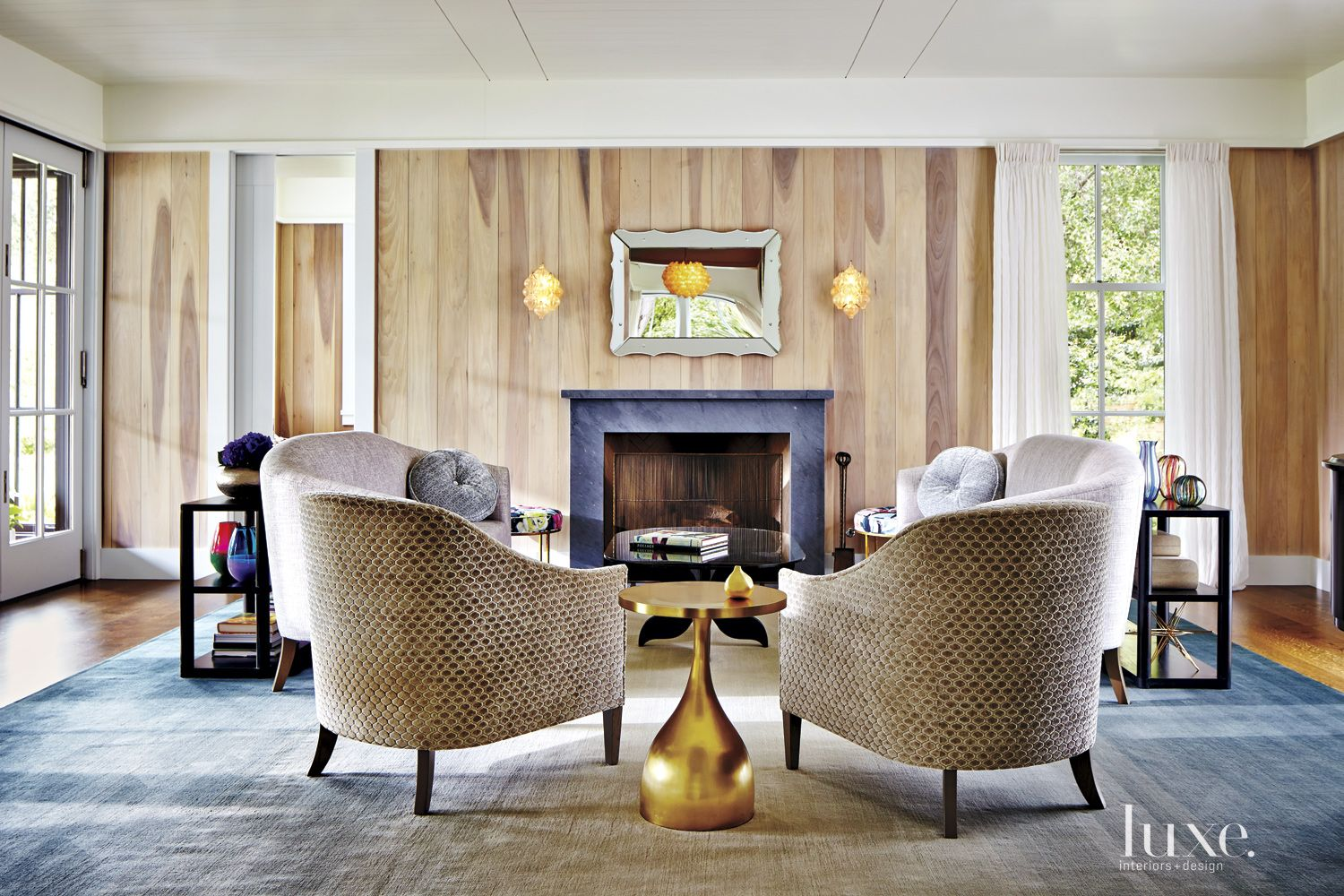 Eclectic Neutral Living Room with Tub Chairs