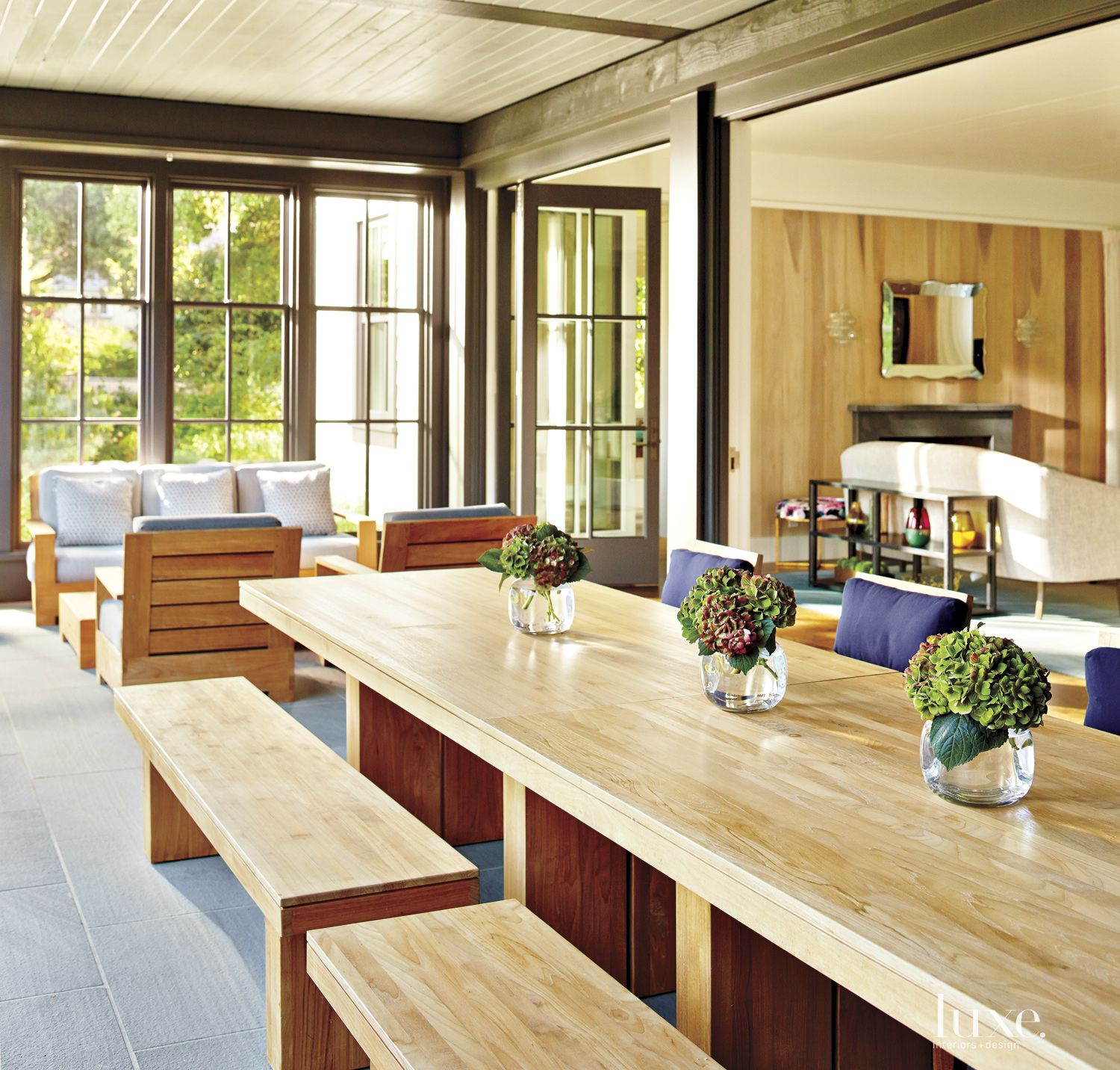 Contemporary Neutral Porch with Teak Furniture