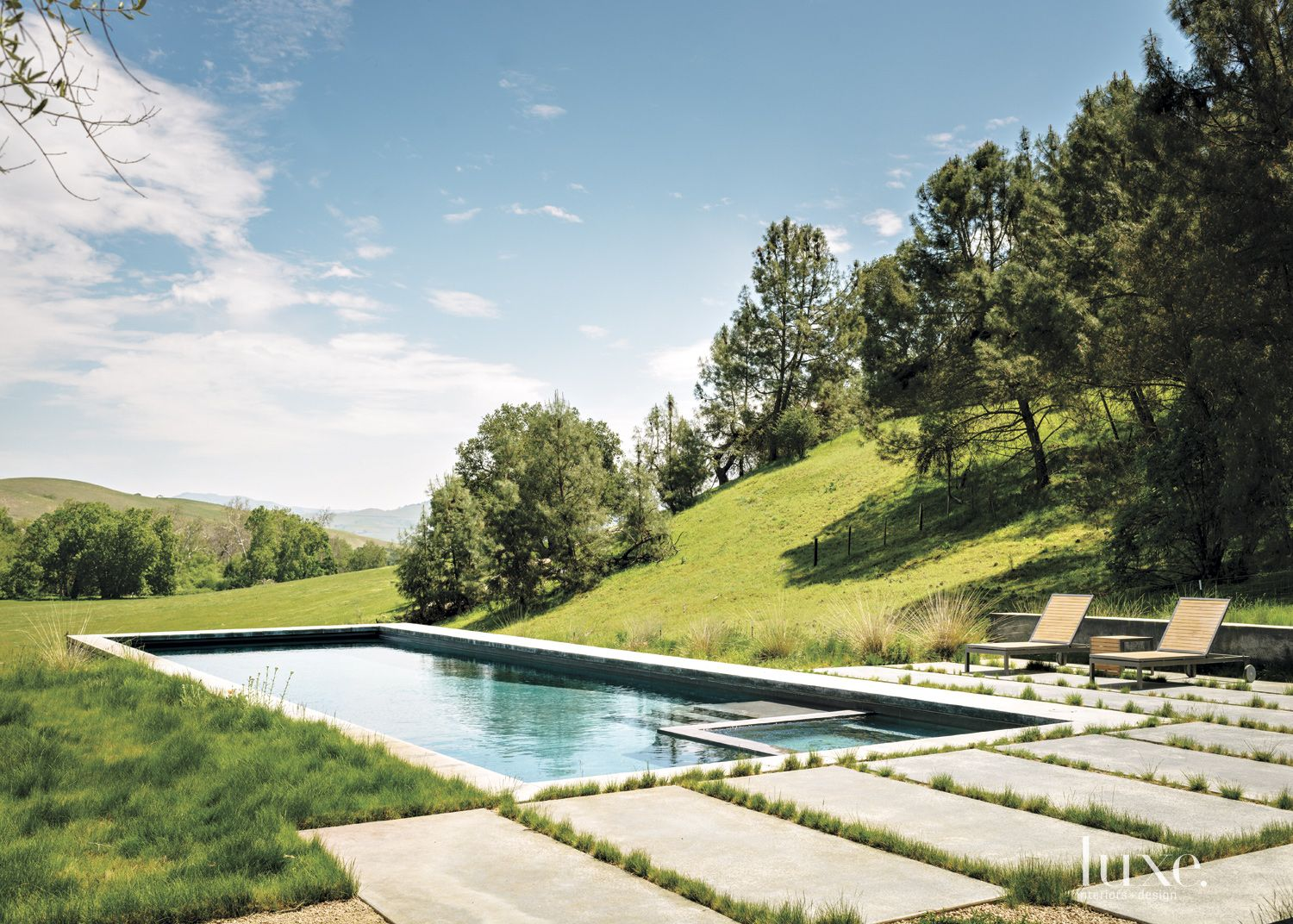 Modern Neutral Poolside with Grass Between Pavers