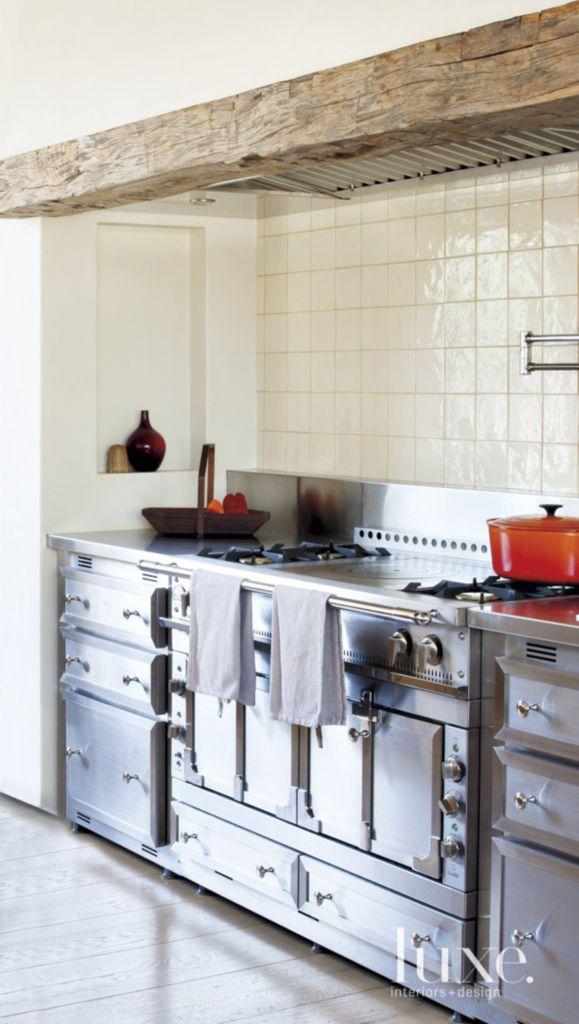 Transitional White Kitchen Detail With Ceramic Tile Backsplash