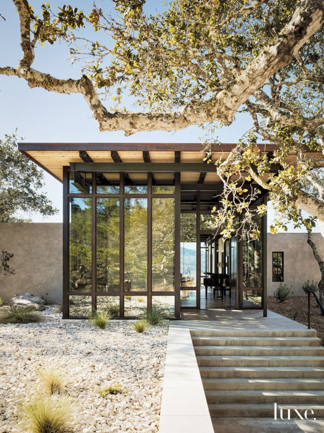Contemporary Neutral Exterior with Native Plantings