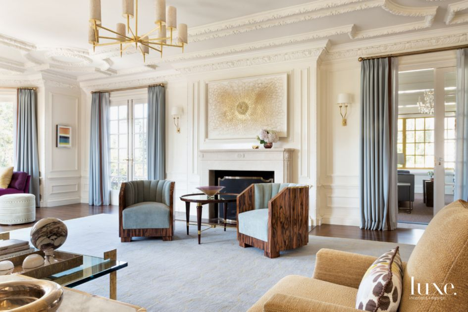 Traditional Cream Living Room SItting Area with Art Deco ...