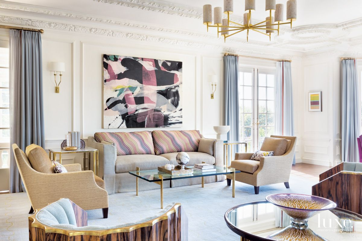 Traditional Cream Living Room with Accent Rug   Luxe ...