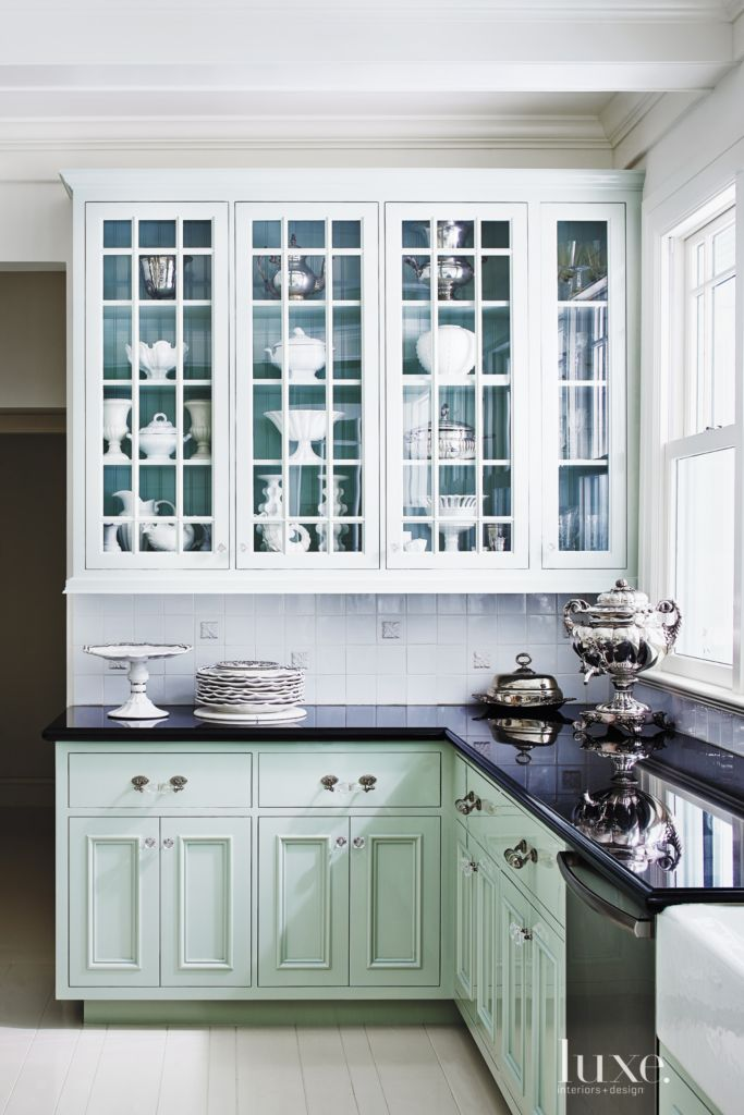 Contemporary Turquoise Kitchen Cabinetry - Luxe Interiors + Design