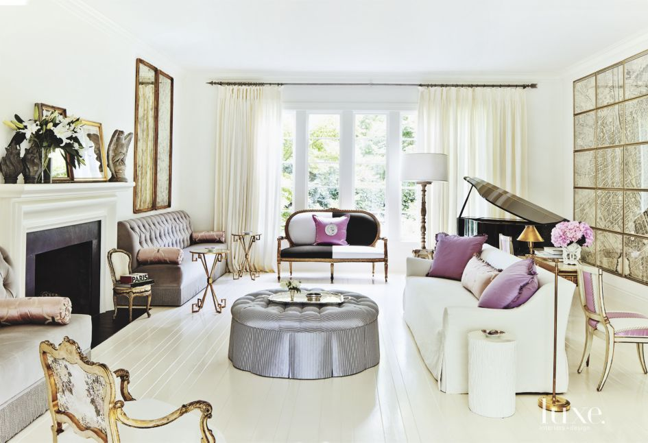 Contemporary White Living Room with Purple Accents - Luxe ...