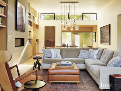Cream Contemporary Living Room With Antique Rug Luxe