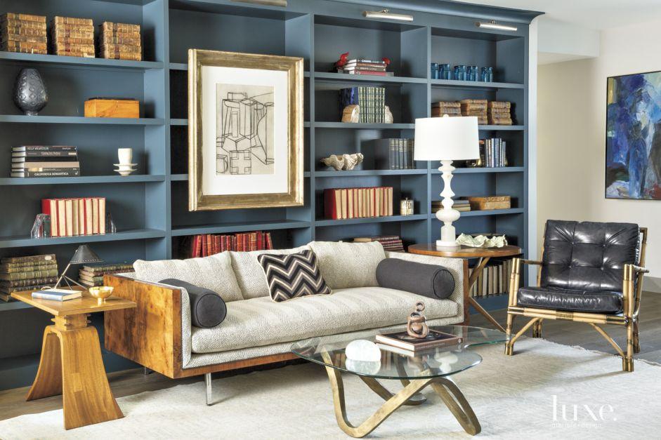 Contemporary Blue Study Luxe Interiors Design