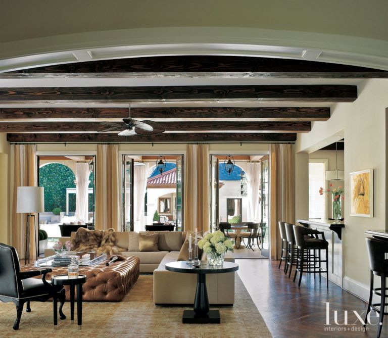 Traditional Living Room With Exposed Beams Luxe Interiors Design
