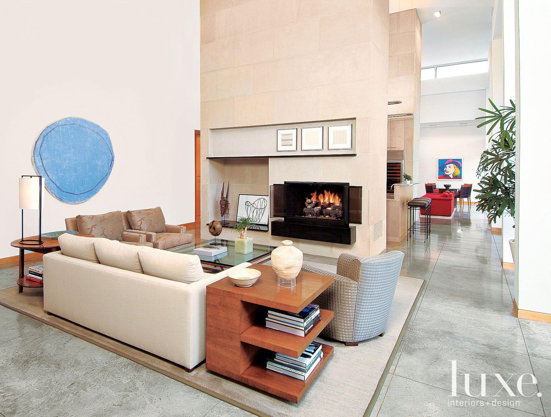 Modern White Gallery-Like Living Room