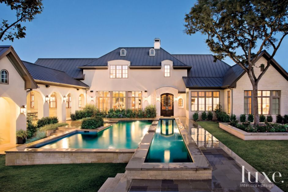 A transitional austin home with a french country aesthetic for Transitional house plans
