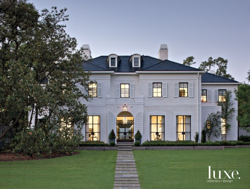 a contemporary houston residence with a regency style exterior features design insight from the editors of luxe interiors design - Home Designers Houston