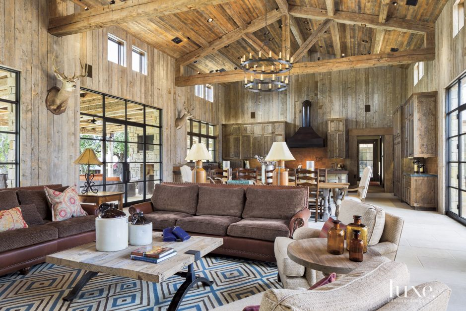 Country wood paneled great room luxe interiors design Hill country wood flooring