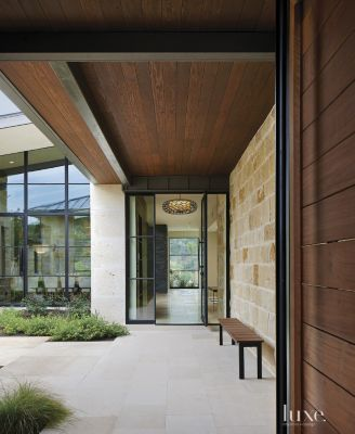 Modern Limestone and Stucco Entrance Luxe Interiors Design