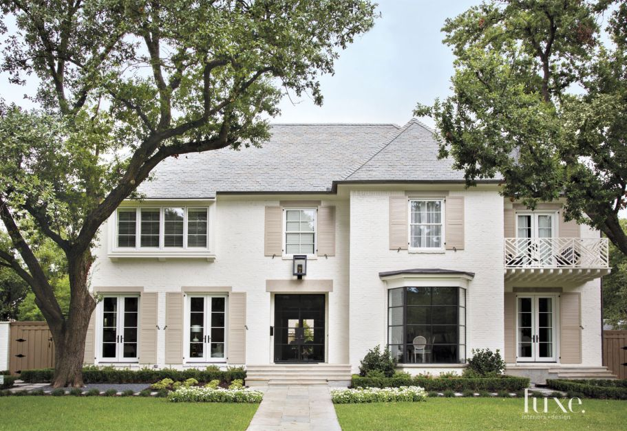 Traditional White Brick Front Elevation Luxe Interiors