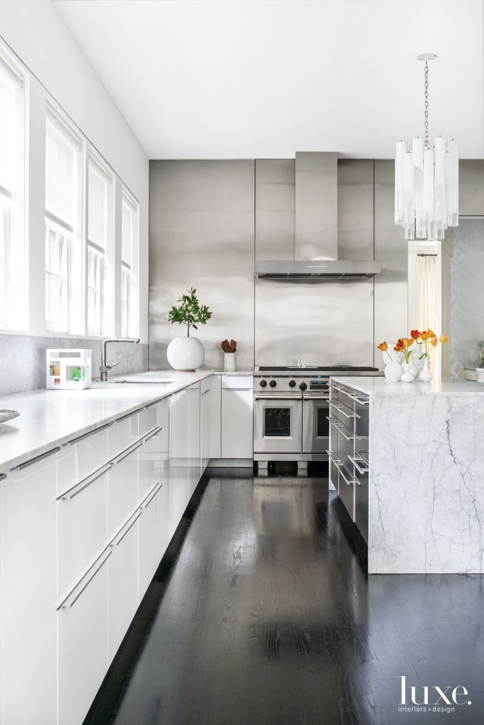 Modern White Kitchen With Black Lacquered Oak Floors Luxe