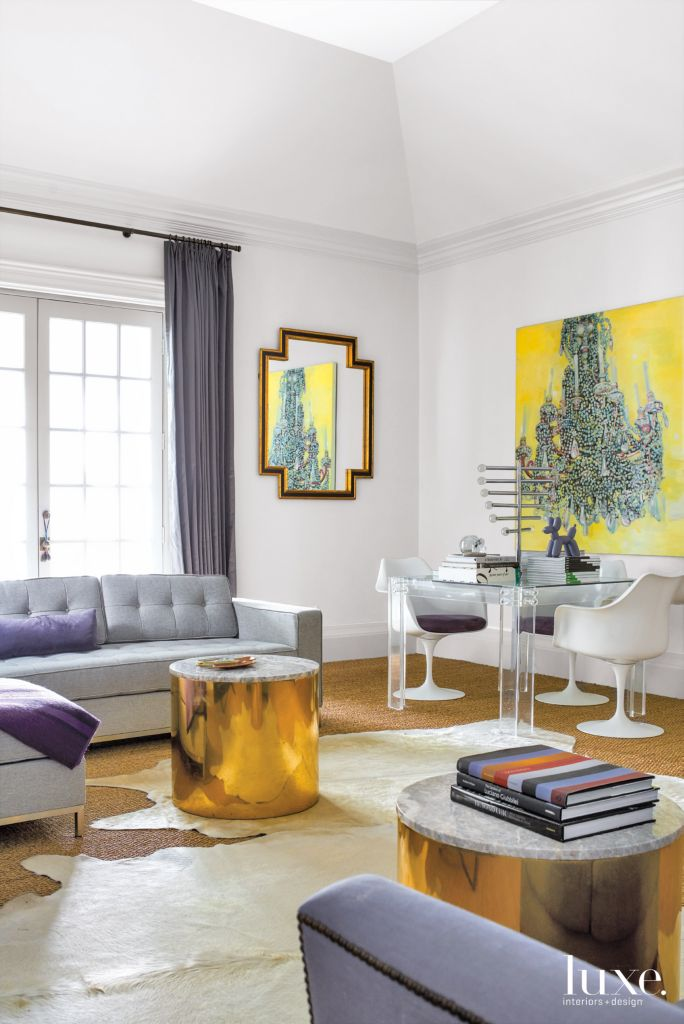 Modern White Bedroom Sitting Area with Brass Drum Tables - Luxe ...