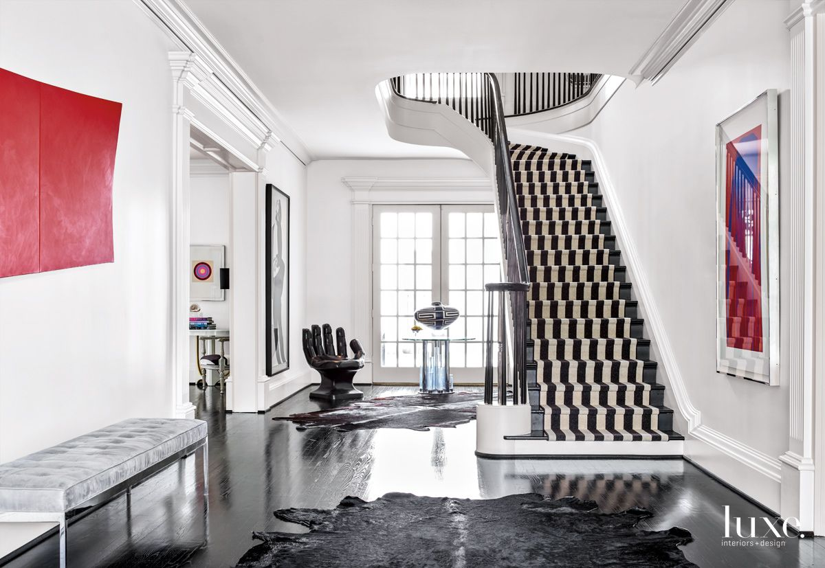 Modern White Entry with Striped Stair Runner