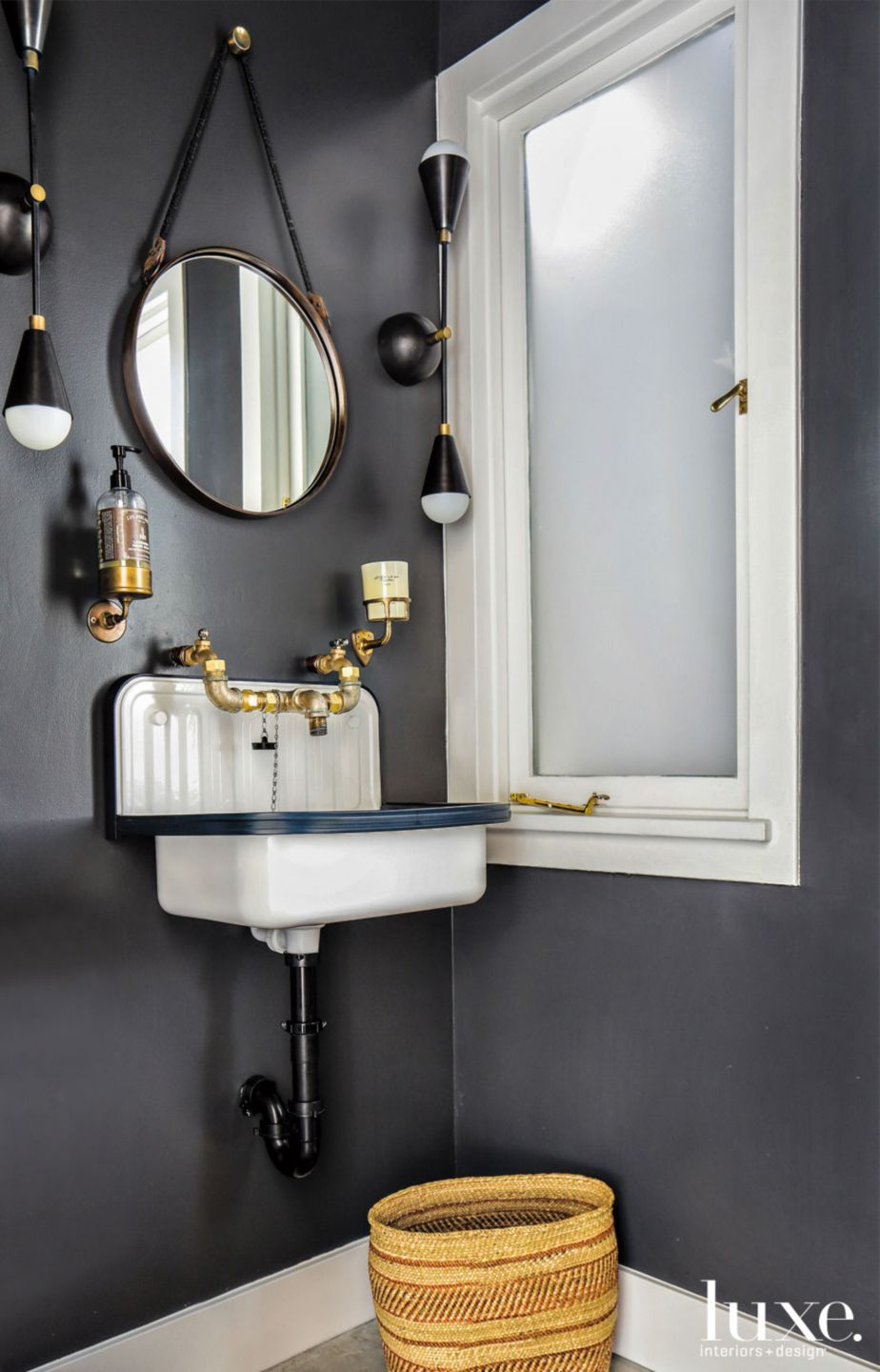 Eclectic Black Powder Room with Custom Sink