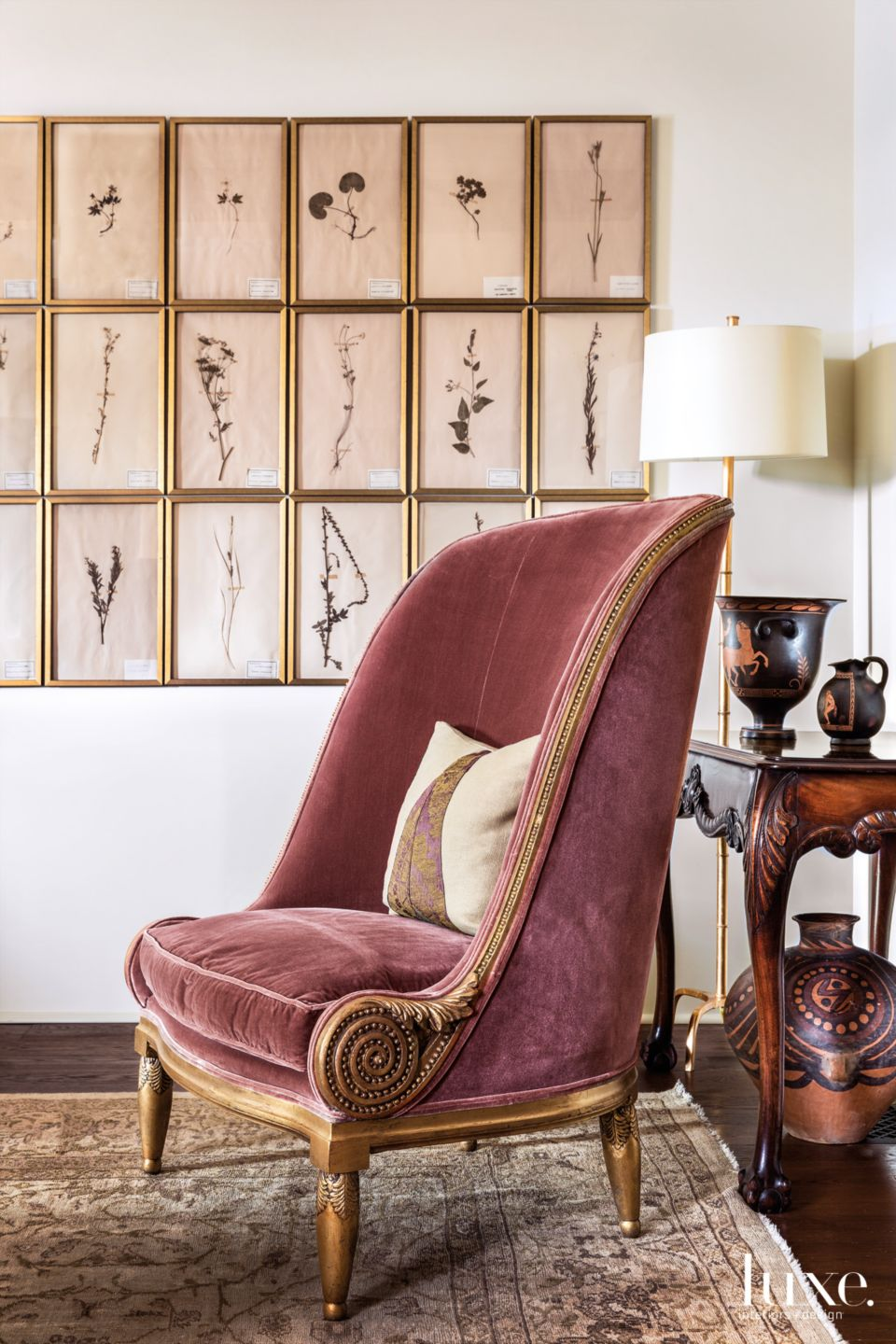 Traditional Cream Living Room Vignette with Gilt Chair