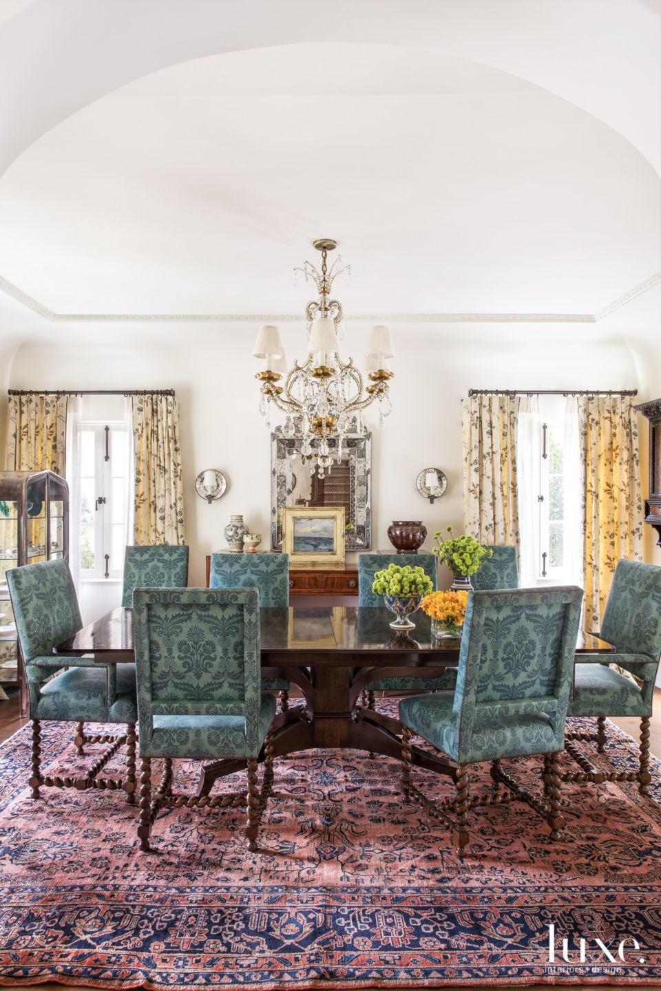 Traditional White Dining Room with Patterned Chairs