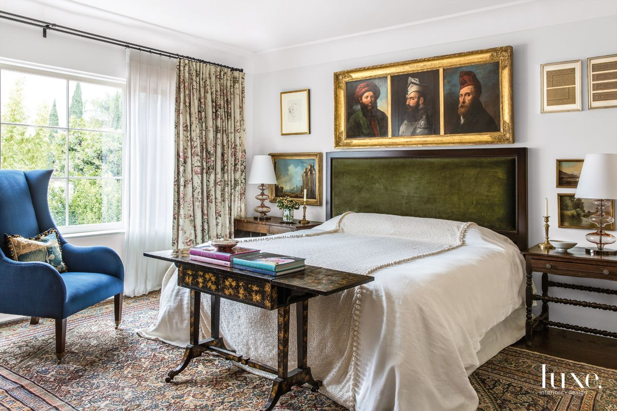 Traditional White Bedroom with Custom Green Headboard