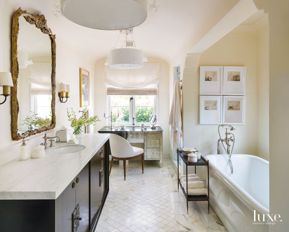 Traditional White Bathroom with Sideboard Vanity