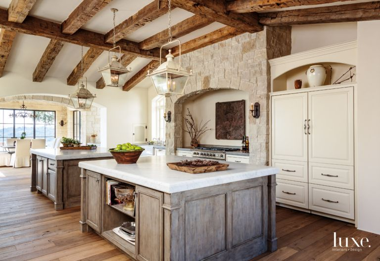 Traditional Cream Kitchen with Antique Fireback - Luxe Interiors + ...