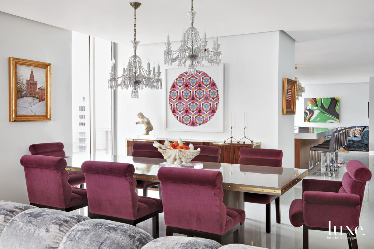Contemporary White Dining Room with Plum-Colored Dining Chairs