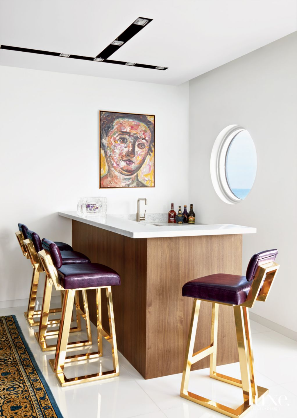 Contemporary White Bar Area with Porthole Window