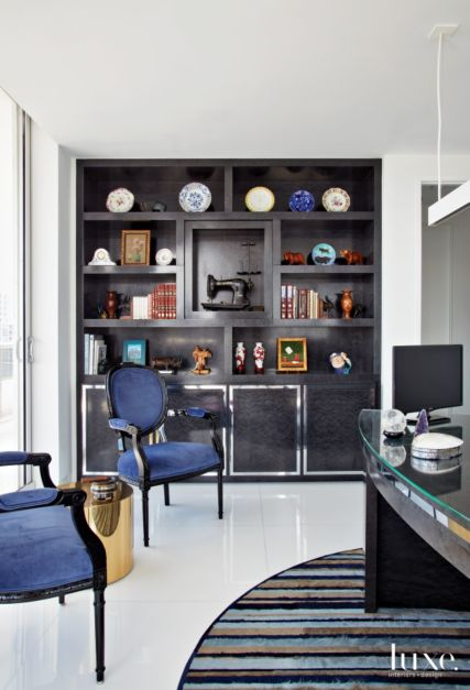 Contemporary White Office With Curved Desk Luxe