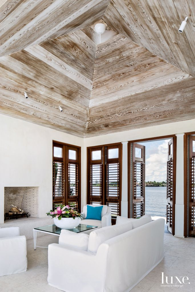Favorite Modern White Pavilion with Lime-Washed Red Cedar Ceiling - Luxe  LN96