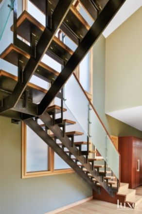 Modern Neutral Open Stairway with Exposed Steel