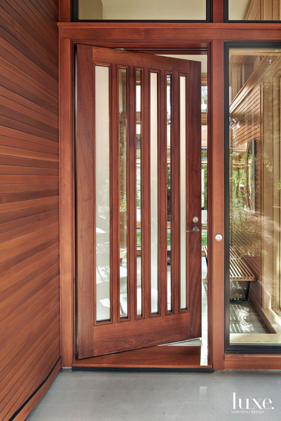Modern Brown Entry with Custom Etched-and-Clear Glass Door