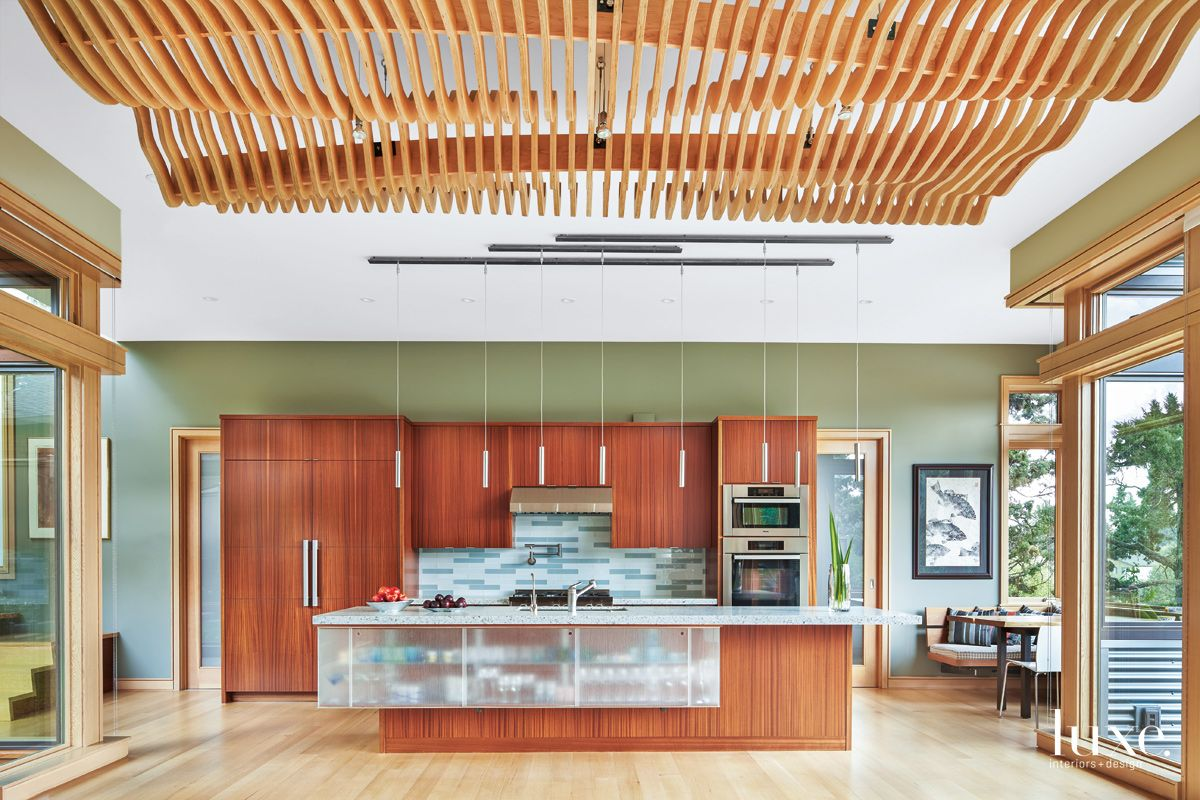 Modern Green Kitchen with Sapele Cabinetry