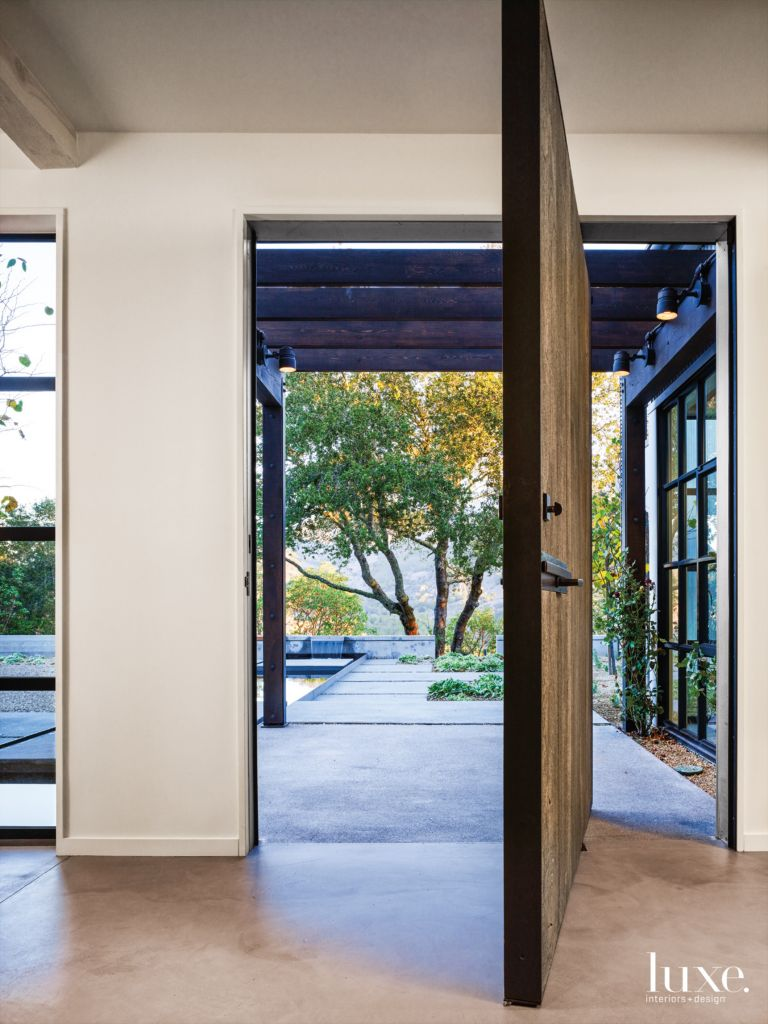 Modern White Front Entry With Custom Wood And Steel Door Luxe
