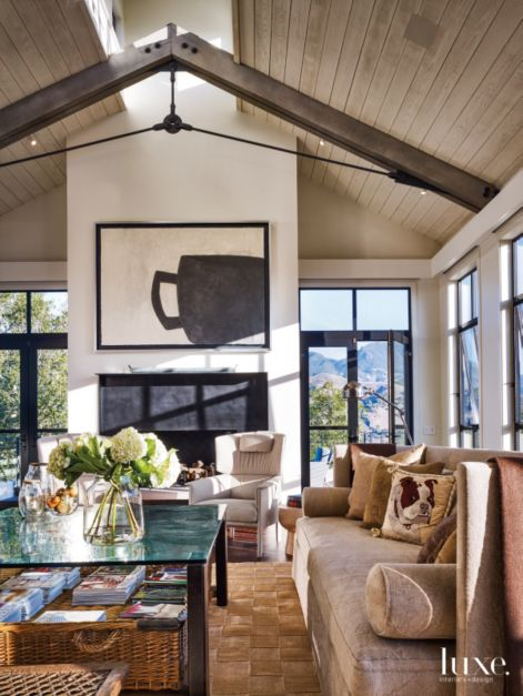 Modern Neutral Living Room With Steel Trusses Luxe