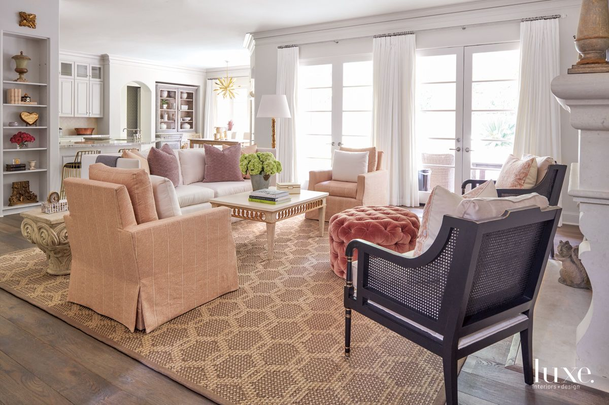 Transitional White Family Room with Pink Furnishings
