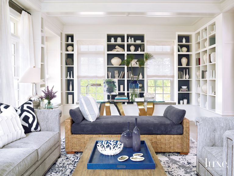 Modern White Library with Upholstered Chaise - Luxe Interiors + Design