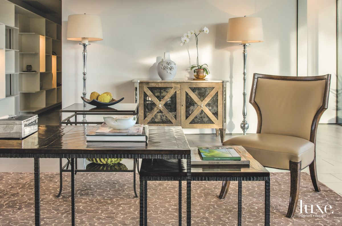 Patterned Chest Office Area with Stackable Tables and Neutral Chair