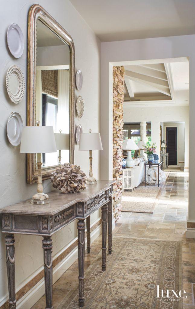. Monochromatic Gallery Style Bedroom Hallway Console   Luxe Interiors