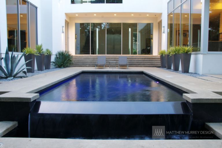 MMD- Contemporary Black Bottom Pool with Negative Edge ...