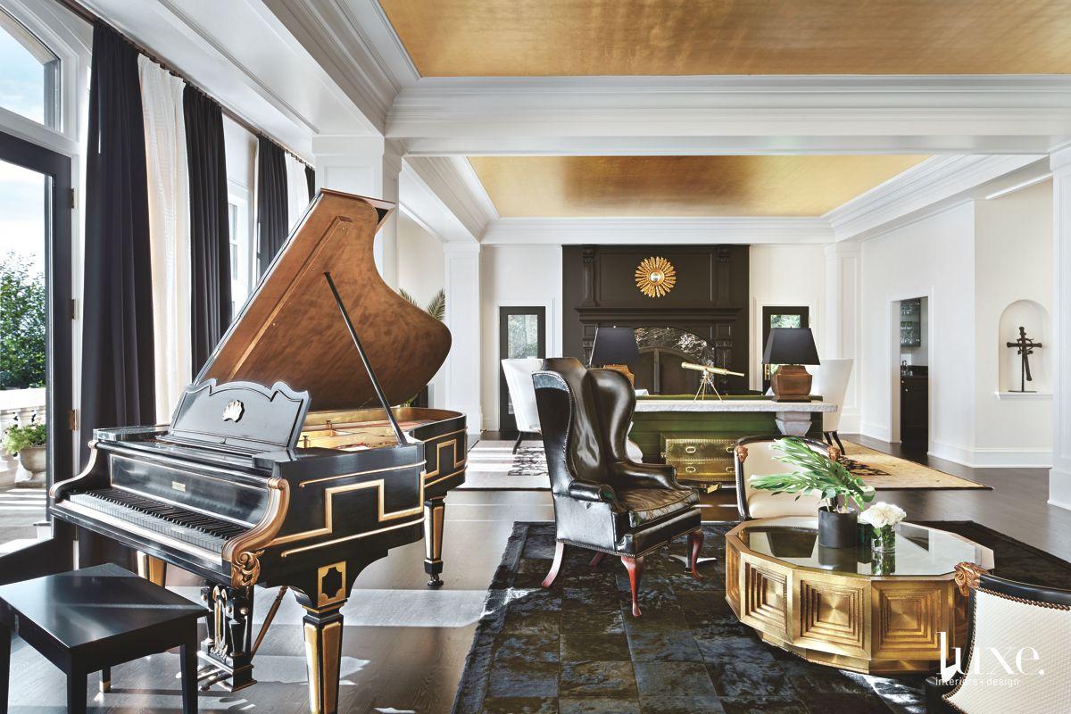 Gilded Great Room with Black and Gold Touches and Piano