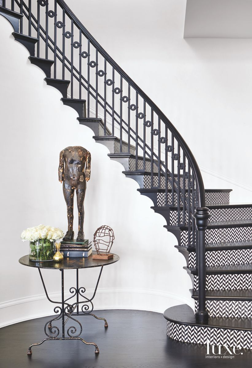 Black and White Chevron Stairway with Statue