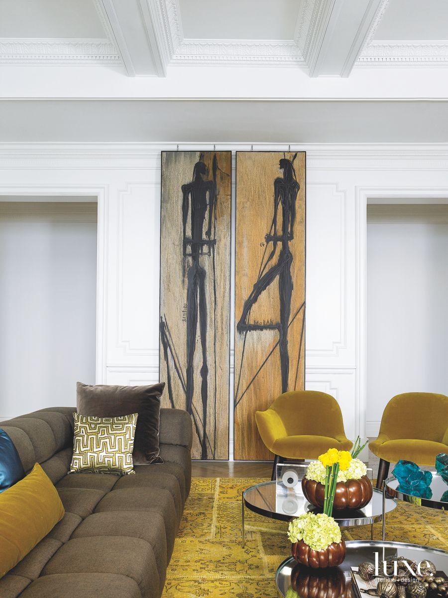 Modern Art Pieces with Saffron Rug