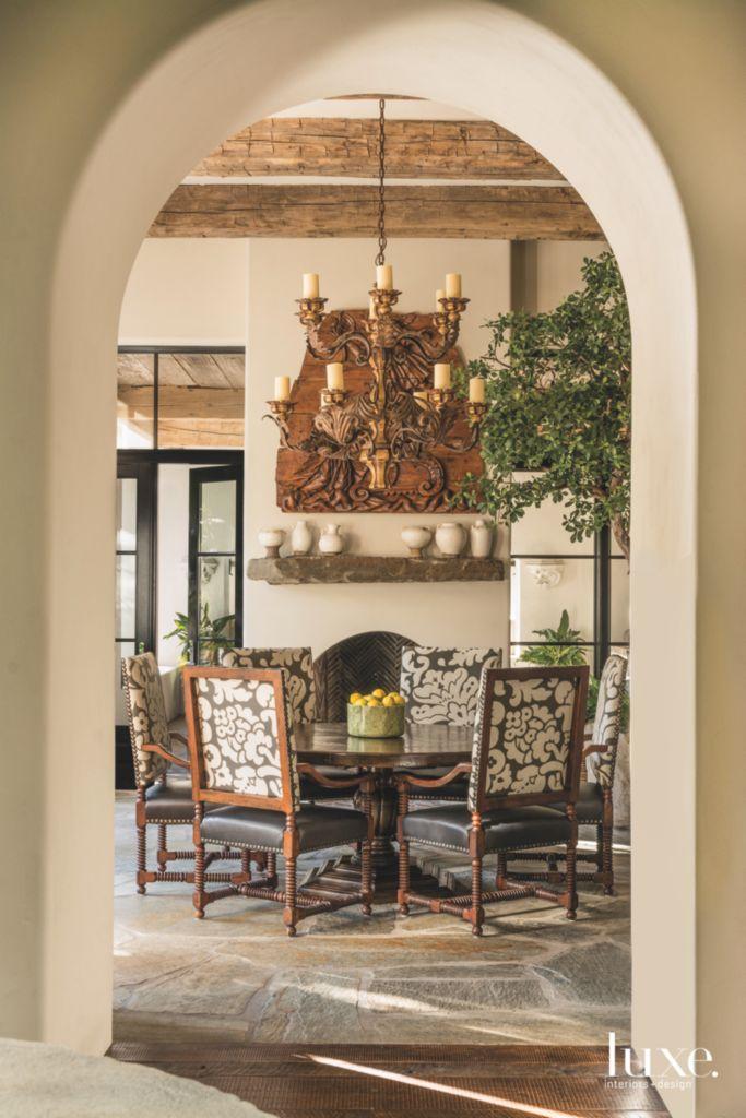 Door Arch With Breakfast Room View Of Dining Table Chandelier And - Breakfast table chandelier