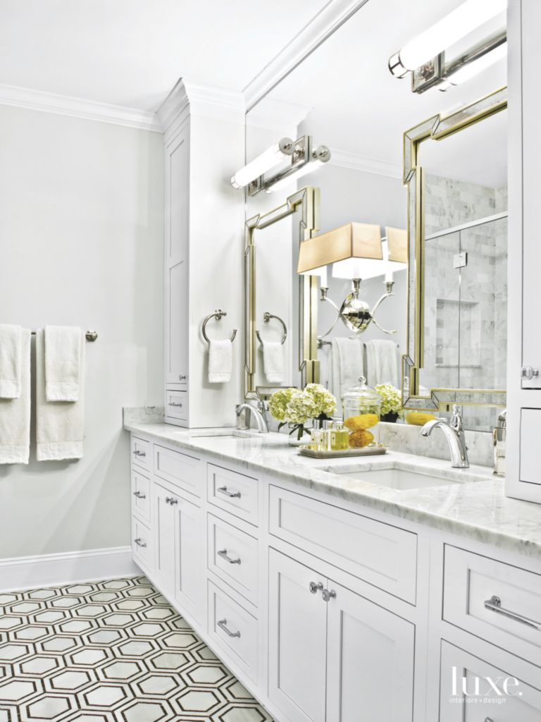 Hexagonal Tile White Master Bathroom with Lighting - Luxe Interiors ...