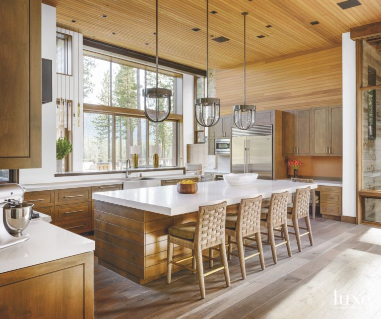 Wooden Kitchen With Custom Cedar Cabinets Luxe Interiors Design
