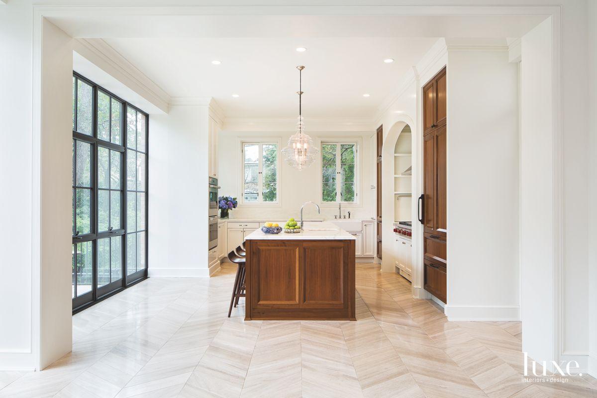 Walnut Island Kitchen with Herringbone Tile Floor and Off White Interiors